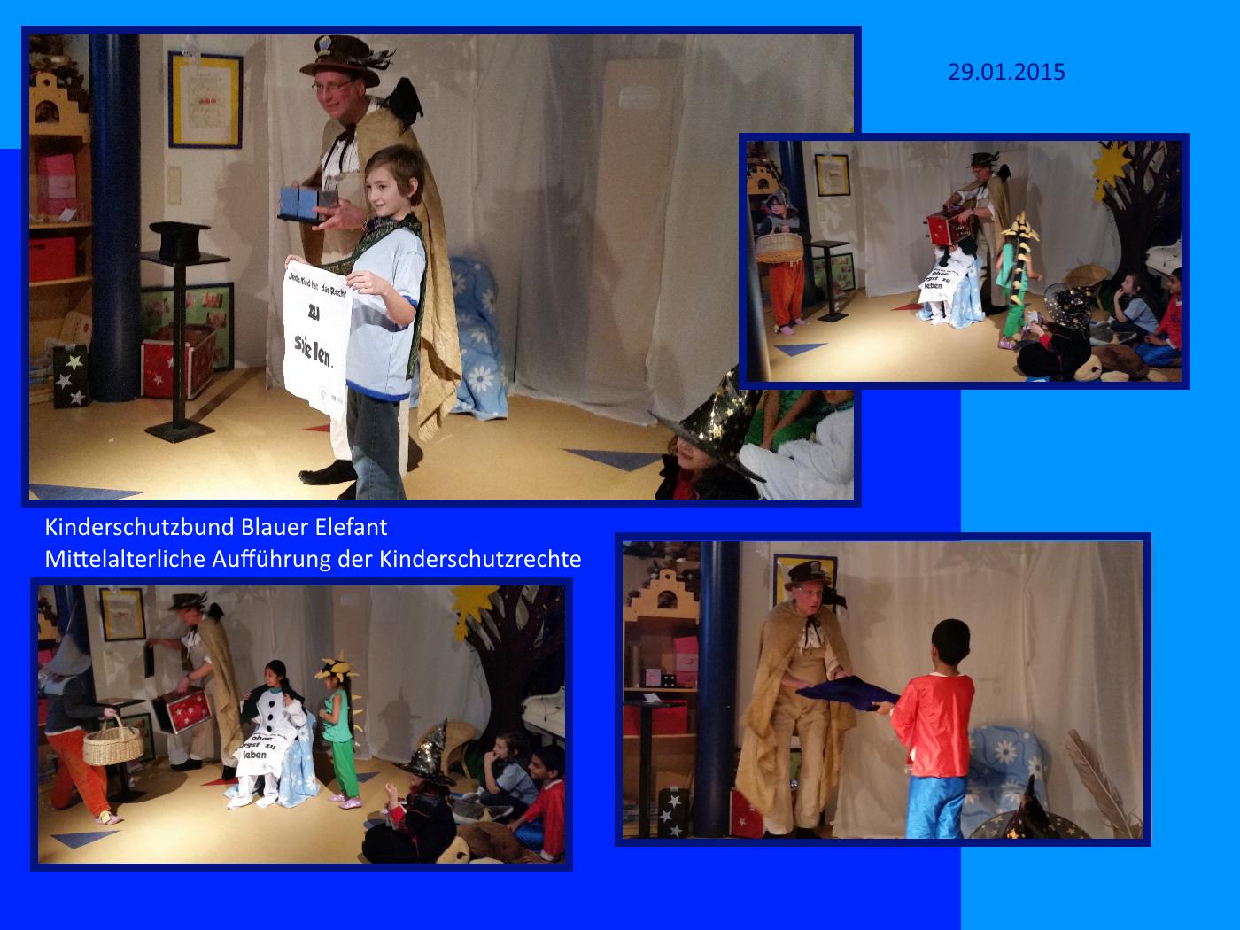 Mittelalterliche Aufführung der Kinderrechte beim blauen Elefant!